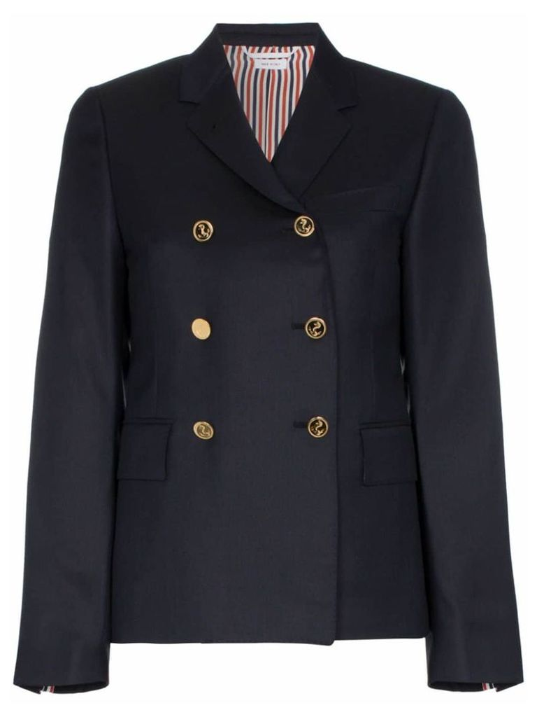 Thom Browne gold button silk lined blazer - Blue