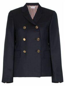Thom Browne gold button silk lined blazer - Blue
