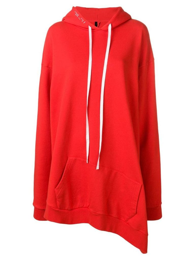 Unravel Project oversized asymmetric hoodie - Red