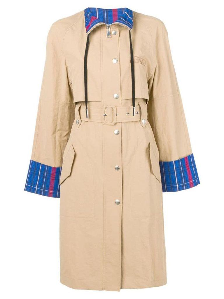 Kenzo tartan pattern trench coat - Neutrals