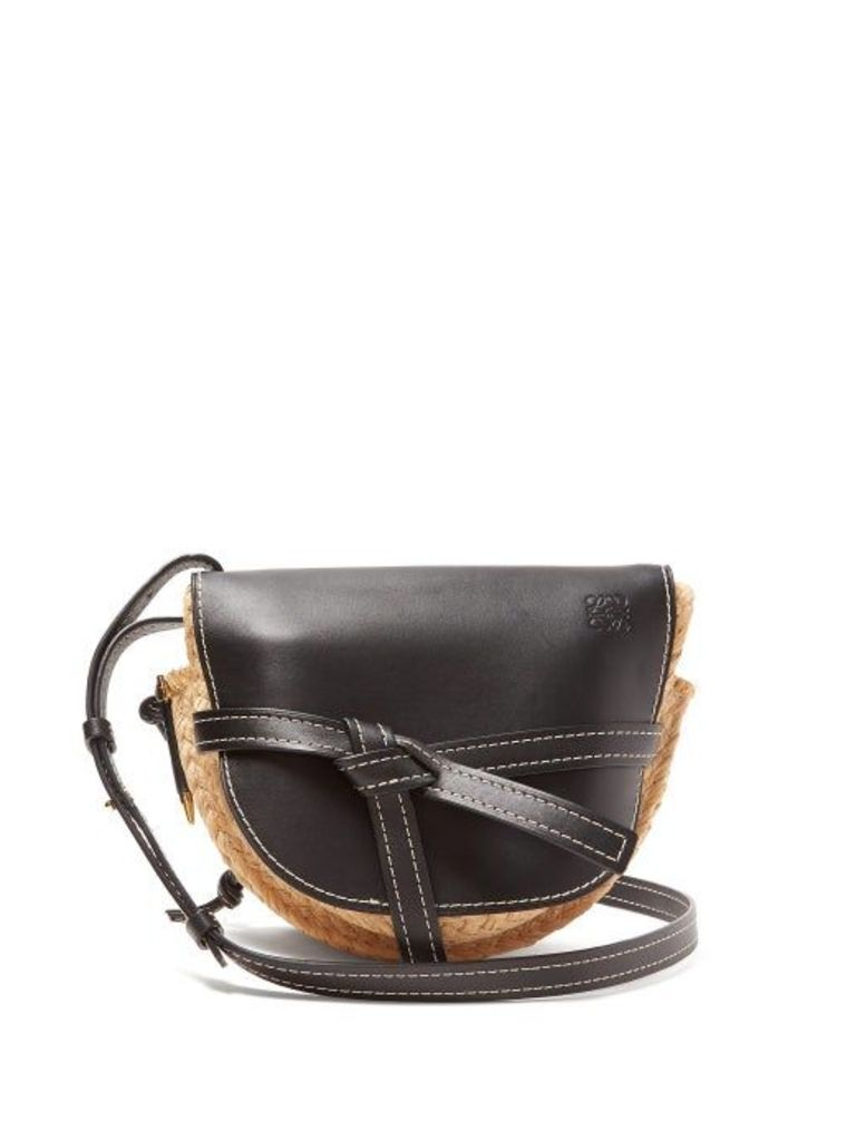 Loewe - Gate Small Leather And Raffia Cross Body Bag - Womens - Black Multi
