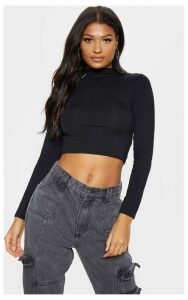 Black Jersey High Neck Roll Long Sleeve Top, Black