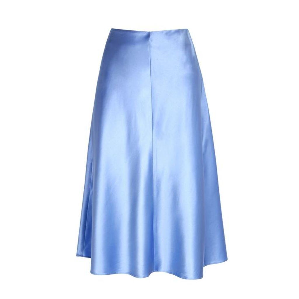 Samsøe & Samsøe Heaston Light Blue Satin Midi Skirt