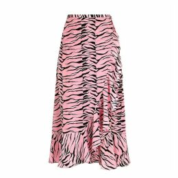 RIXO Gracie Tiger-print Silk Wrap Skirt