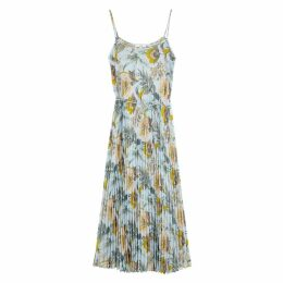 Vince Floral-print Pleated Chiffon Midi Dress