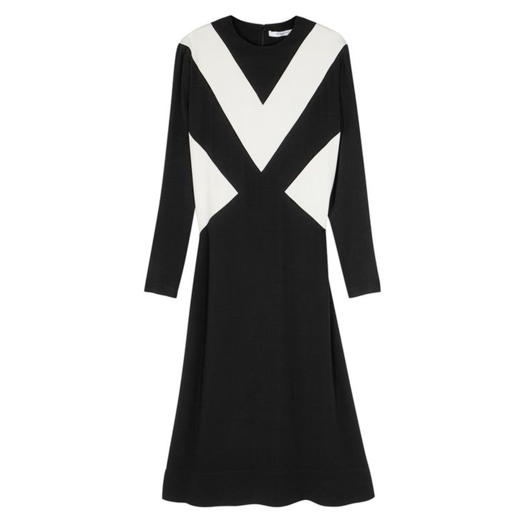Givenchy Black And White Crepe Midi Dress