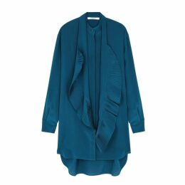 Givenchy Teal Ruffle-trimmed Silk Dress