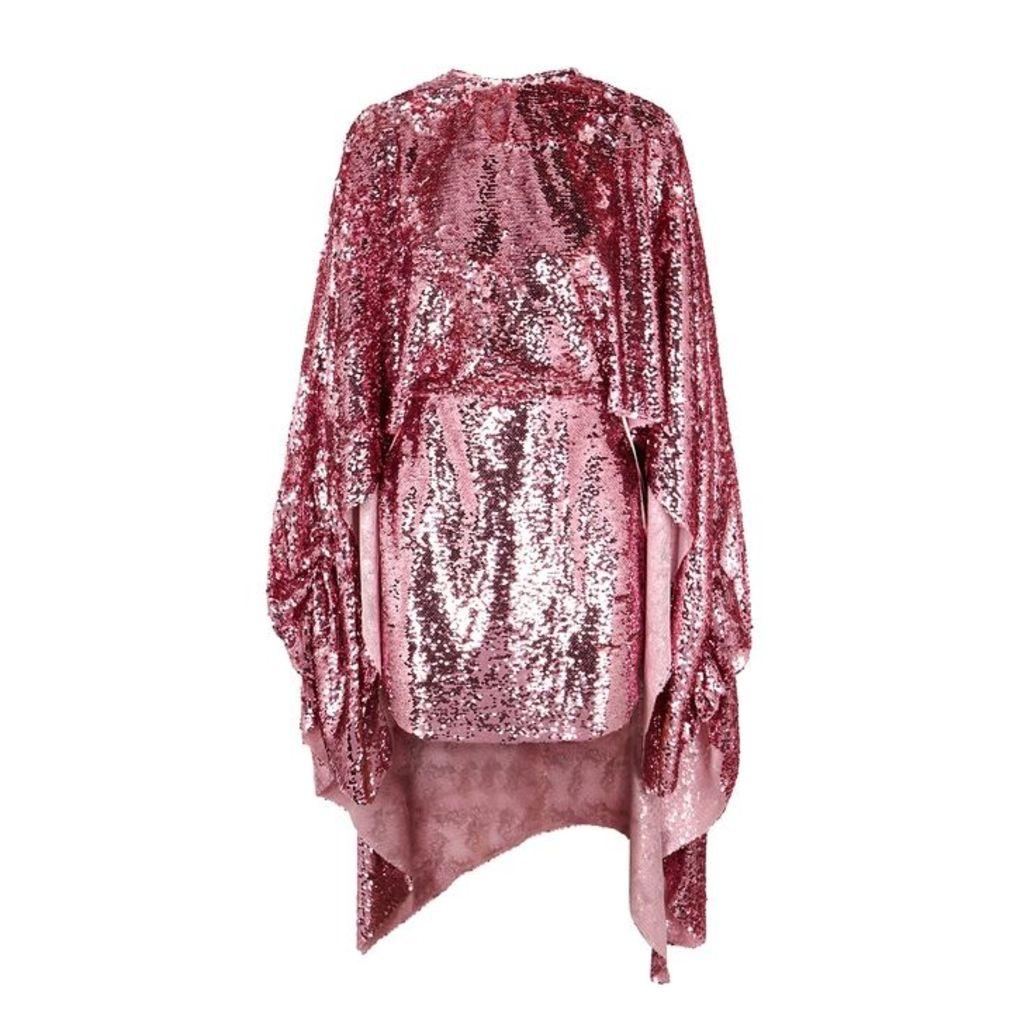 Paula Knorr Pink Cape-effect Sequin Mini Dress