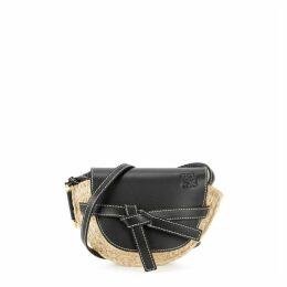 Loewe Gate Mini Leather And Raffia Saddle Bag