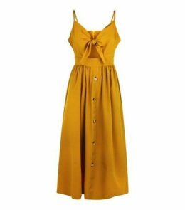 Cameo Rose Mustard Bow Front Midi Dress New Look
