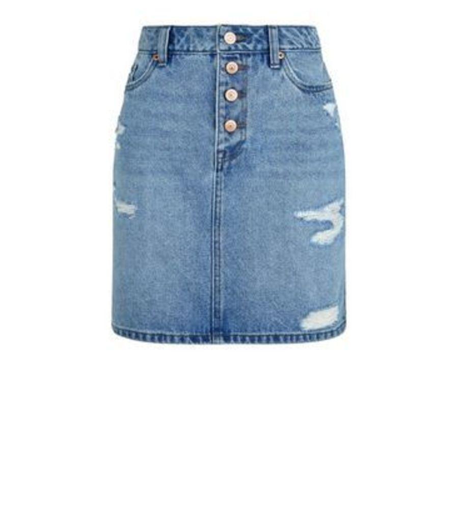 Blue Ripped Denim Mom Skirt New Look