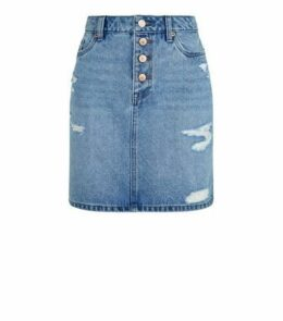 Blue Ripped Denim Mom Skirt New Look