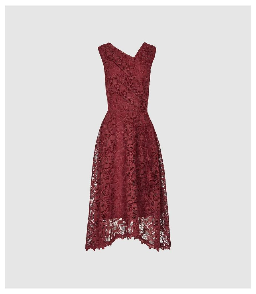 Reiss Rayna - Wrap Front Lace Dress in Wine Berry, Womens, Size 16