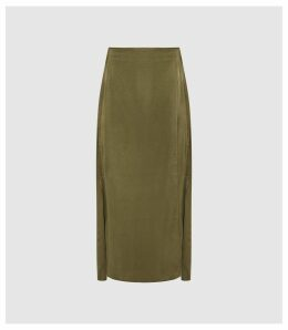 Reiss Amalie - Satin Midi Skirt in Green, Womens, Size 14