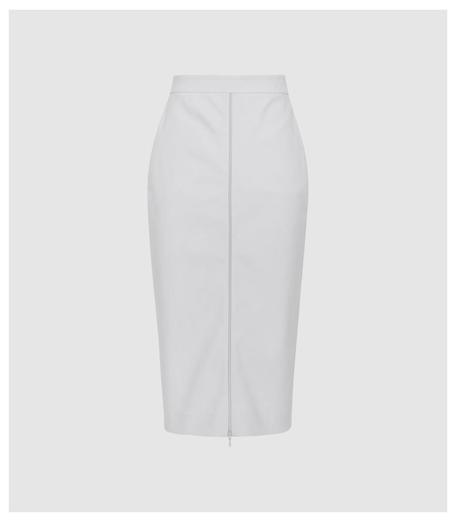Reiss Hari - Zip Front Pencil Skirt in Stone, Womens, Size 14