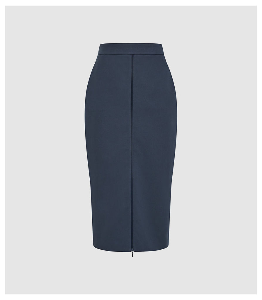 Reiss Hari - Zip Front Pencil Skirt in Navy, Womens, Size 14