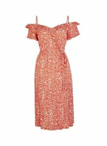 Womens Red Leopard Print Wrap Dress- Red, Red