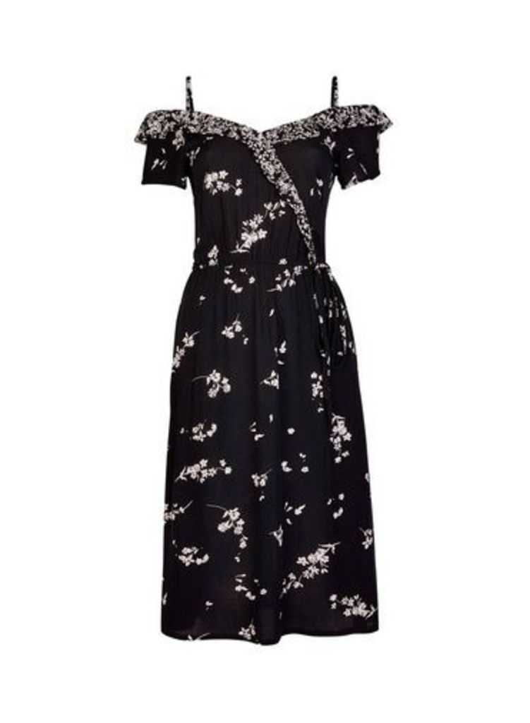 Womens Black Ditsy Floral Print Wrap Dress- Black, Black