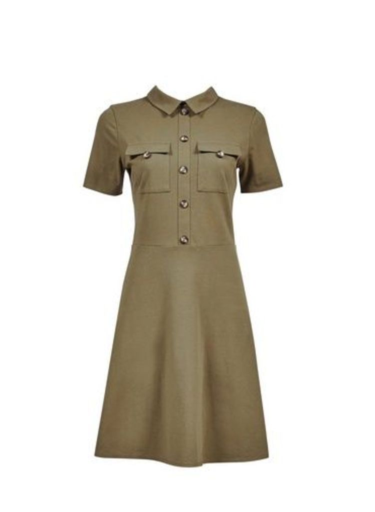 Womens Khaki Utilty Horn Button Fit And Flare Dress- Khaki, Khaki