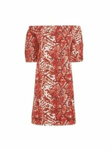Womens Red Snake Print Bardot Dress- Red, Red