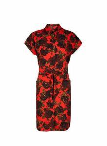 Womens Red Floral Print Shirt Dress- Red, Red