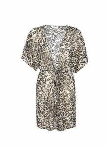 Womens Sheer Leopard Print Cover Up Dress- Black, Black