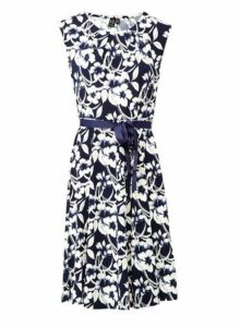 Womens *Izabel London Navy Floral Print Fit And Flare Dress- Navy, Navy