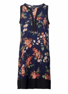 Womens *Izabel London Navy Floral Print Shift Dress- Multi, Multi