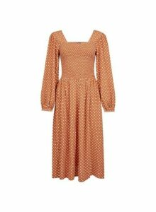 Womens Ginger Spotted Long Sleeve Fit And Flare Dress- Ginger, Ginger