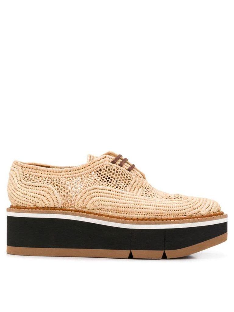 Clergerie raffia lace-up shoes - Neutrals