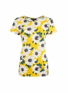 Womens Yellow Floral Print Short Sleeve Crew Neck T-Shirt- Yellow, Yellow