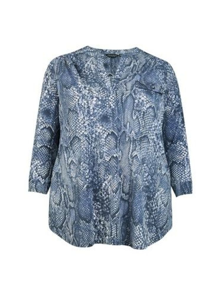Womens **Dp Curve Multi Colour Snake Print Shirt- Blue, Blue