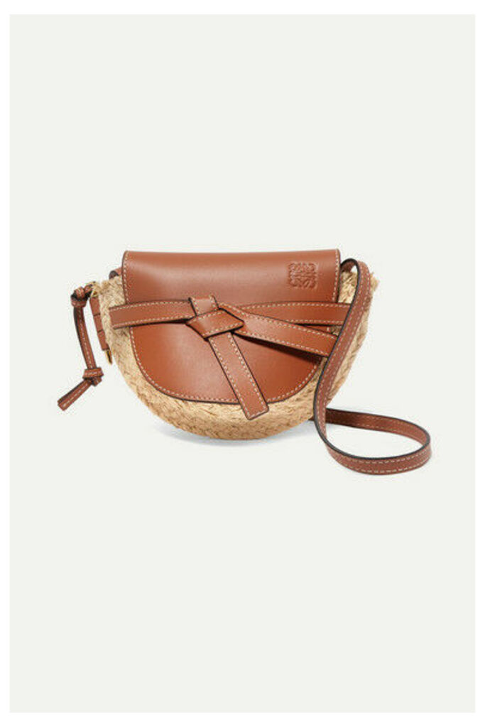 Loewe - Gate Mini Leather And Woven Raffia Shoulder Bag - Tan