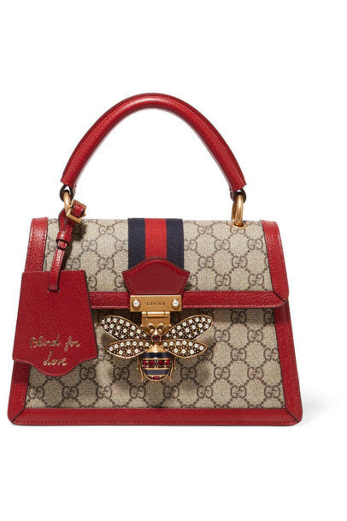Gucci - Queen Margaret Textured Leather-trimmed Printed Coated-canvas Tote - one size