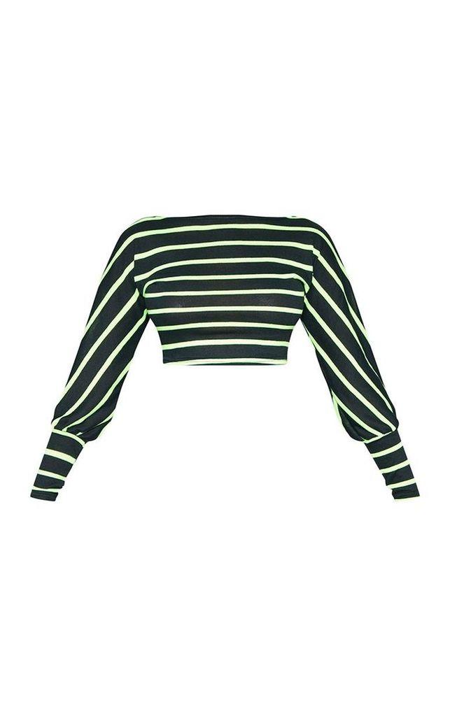 Tall Neon Green Striped Light Weight Knit Long Sleeve Crop Top, Green