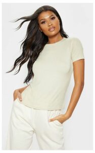 Sage Green Rib Round Neck T Shirt, Sage Green