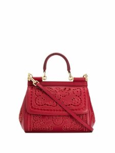 Dolce & Gabbana floral lace shoulder bag - Red