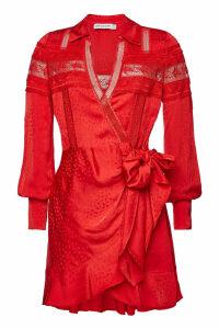 Self-Portrait Wrap Dress with Lace