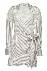 Self-Portrait Striped Wrap Dress with Lace