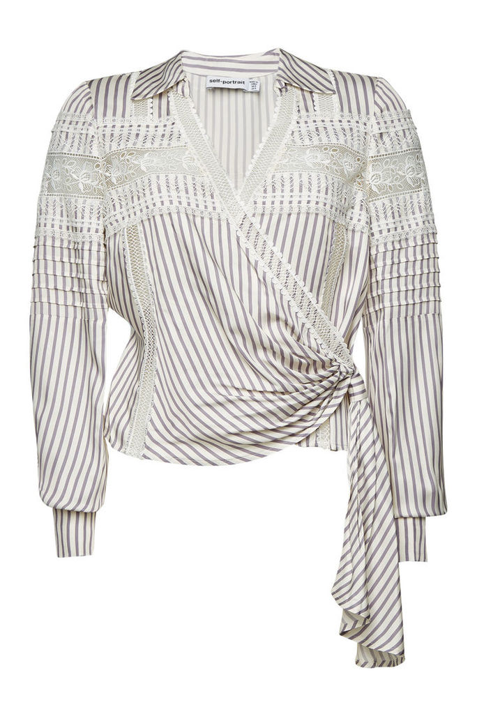 Self-Portrait Striped Wrap Top with Lace