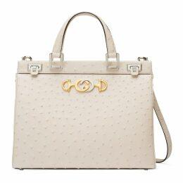 Gucci Zumi ostrich medium top handle bag