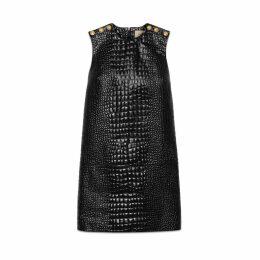 Crocodile print leather dress