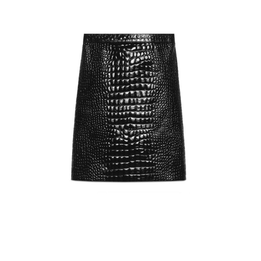 Crocodile print leather pencil skirt