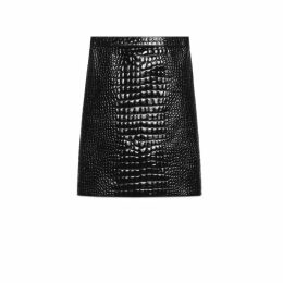 Crocodile print leather pencil skirt