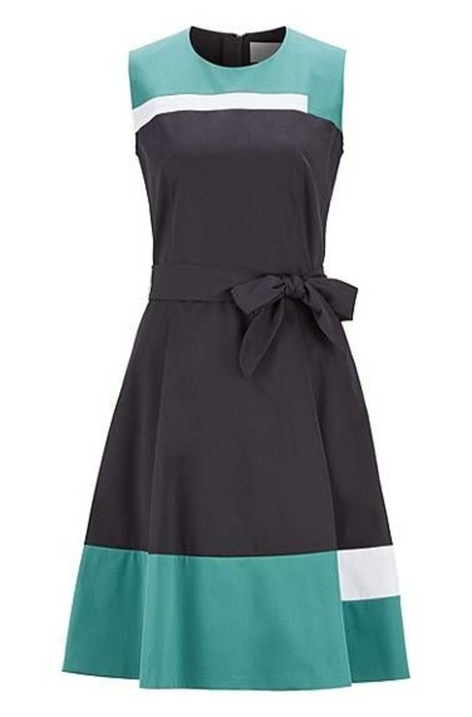 Sleeveless dress in satin-touch cotton with tie belt