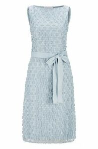 Regular-fit dress in embroided lace with tie belt