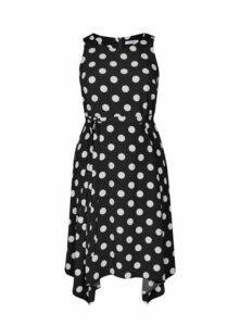 Black Spot Hanky Hem Dress, Black