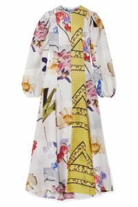GANNI - Patchwork Printed Crepe De Chine Maxi Dress - Yellow