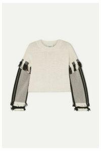 3.1 Phillip Lim - Cropped Fringed Cotton-blend Sweater - Ecru