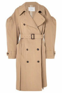 Pushbutton - Oversized Cotton-blend Gabardine Trench Coat - Beige